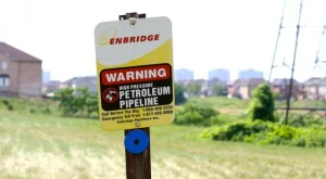Enbridge buried pipeline marker - east Toronto. Credit: Adam Scott/Environmental Defence.