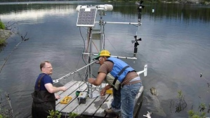 Researchers working at one of 58 lakes in the Experimental Lakes Area in northern Ontario.